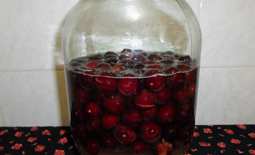 фото самодельной наливки из вишни с косточками