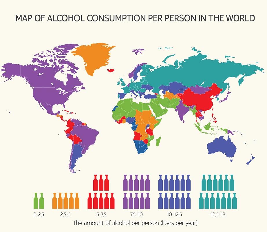 какие страны больше всех пьют алкоголь