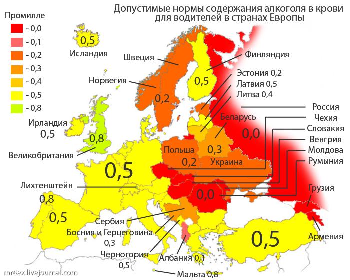 нормы алкоголя в разных странах Европы