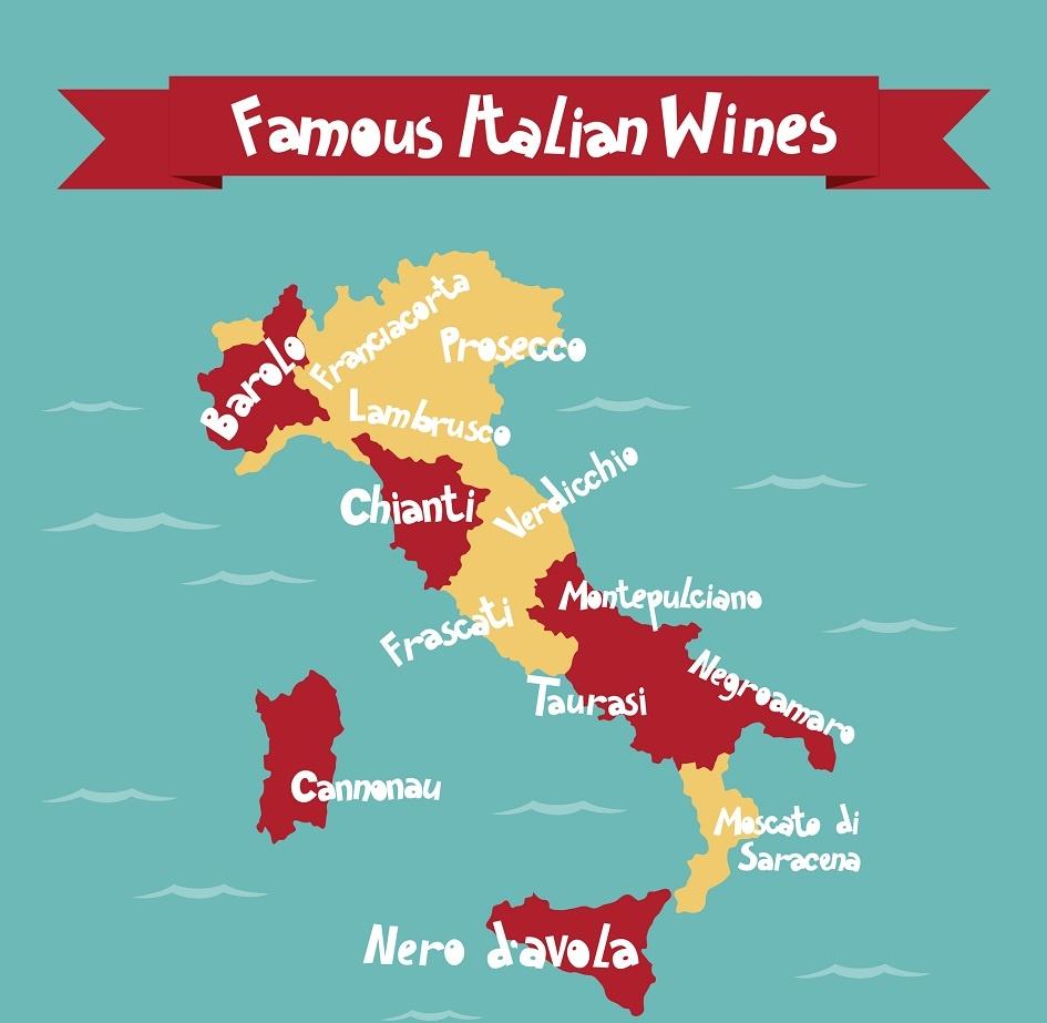 карта известных итальянских вин