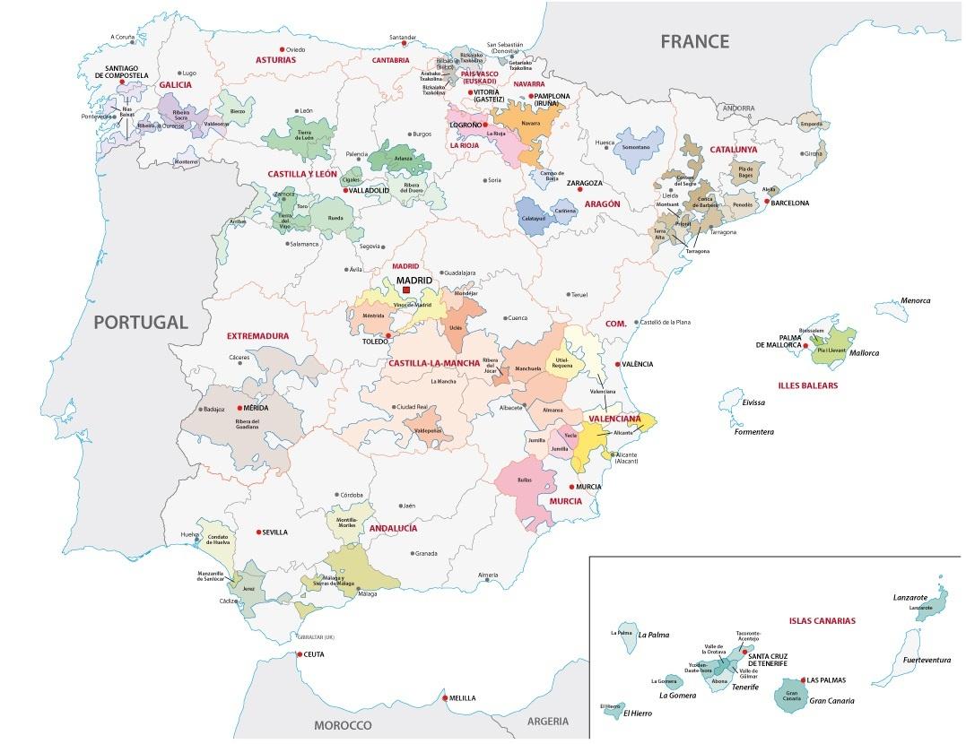 карта производства вин в Испании
