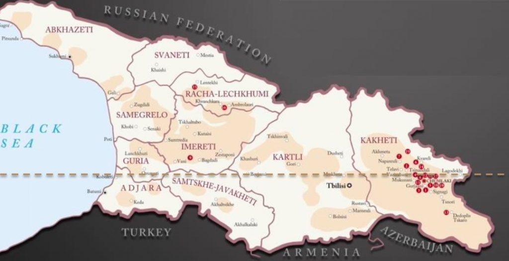 карта винодельческих регионов Грузии фото