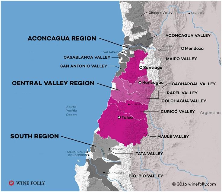 карта виноделия в Чили