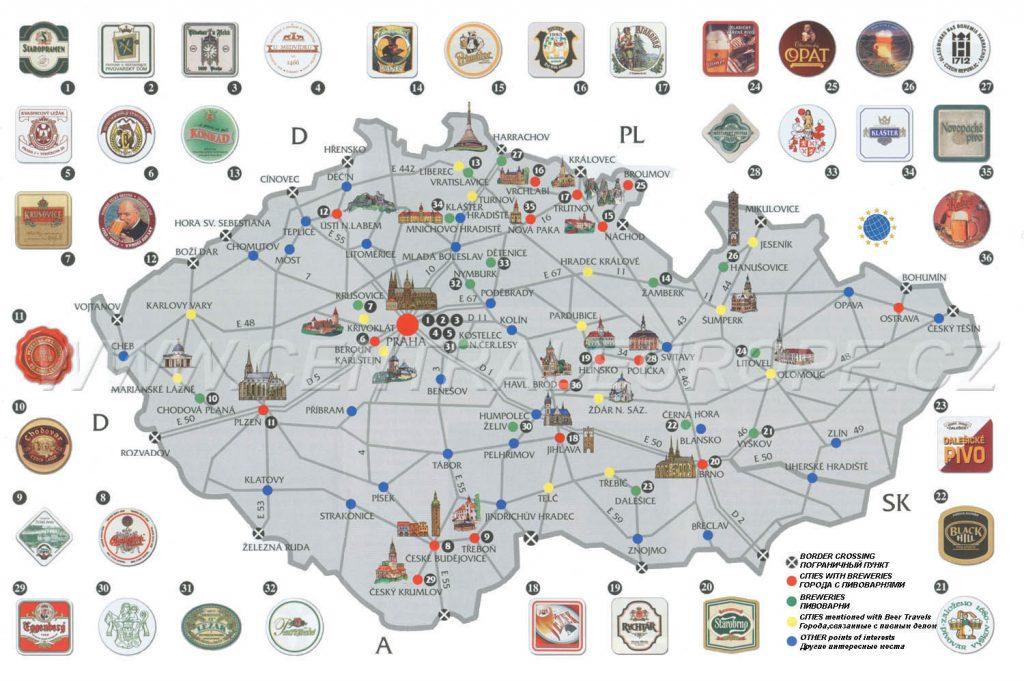 пивная карта Чехии фото