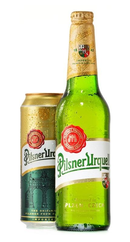 бутылка и банка пива Pilsner Urquell