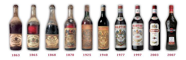 дизайн бутылок мартини россо во времени
