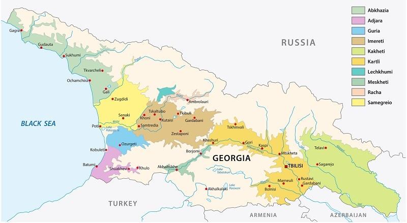 карта виноделия Грузии