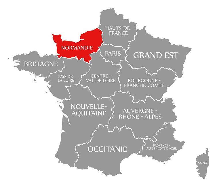 карта Франции с Нормандией
