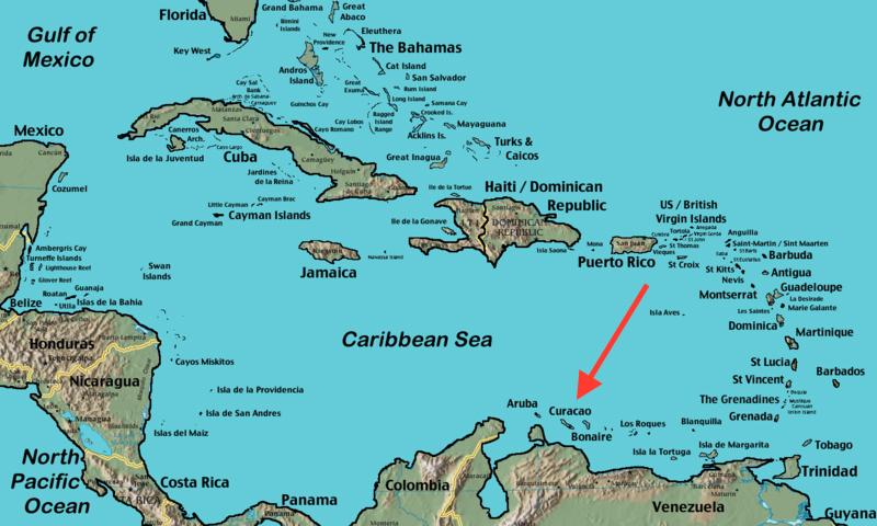 фото острова кюрасао на карте