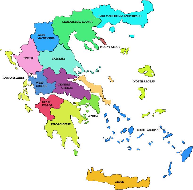 карта винодельческих регионов Греции