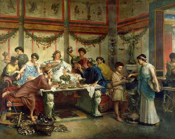 картина тостования в античности