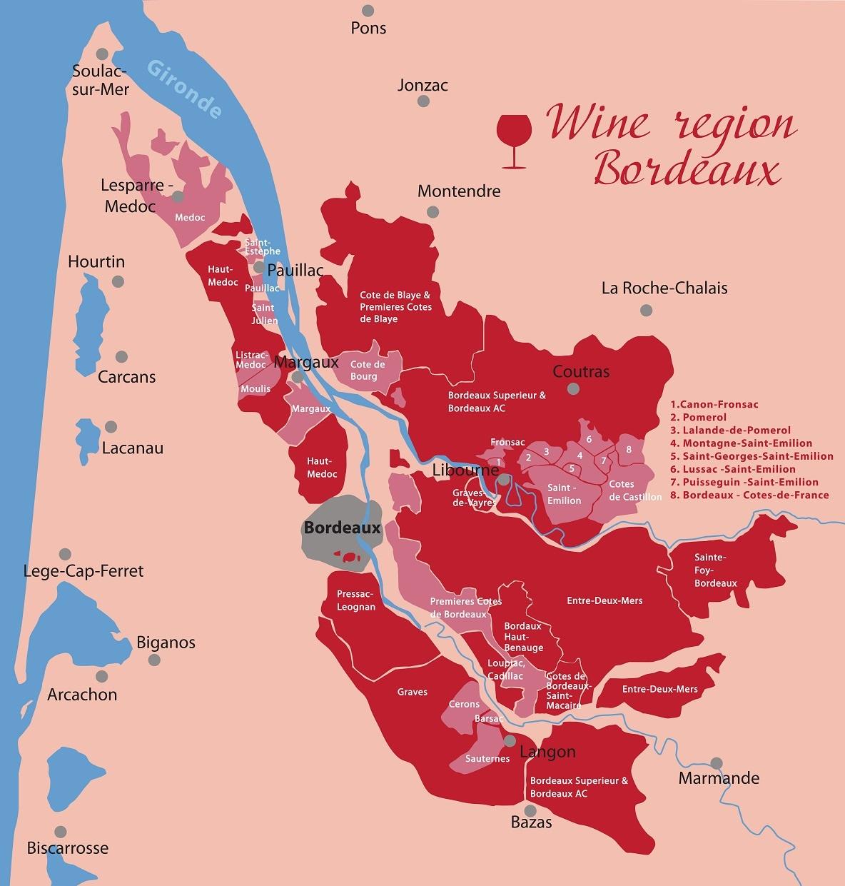 карта производства вин в Бордо