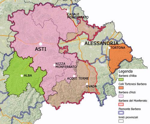 регионы производства итальнского вина Барбера