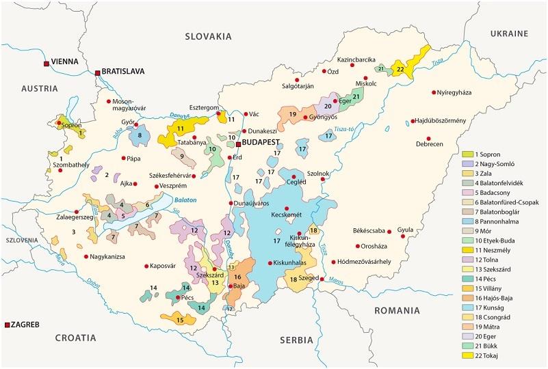 карта виноделия Венгрии