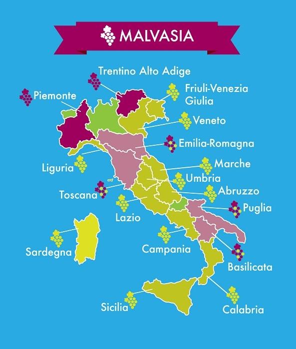 карта производства вин Мальвазия в Италии