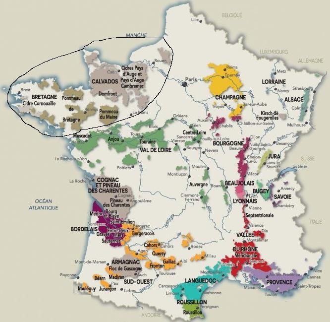 карта производства поммо во Франции