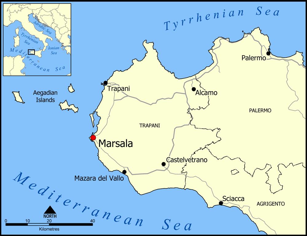 карта винодельческого региона Марсала