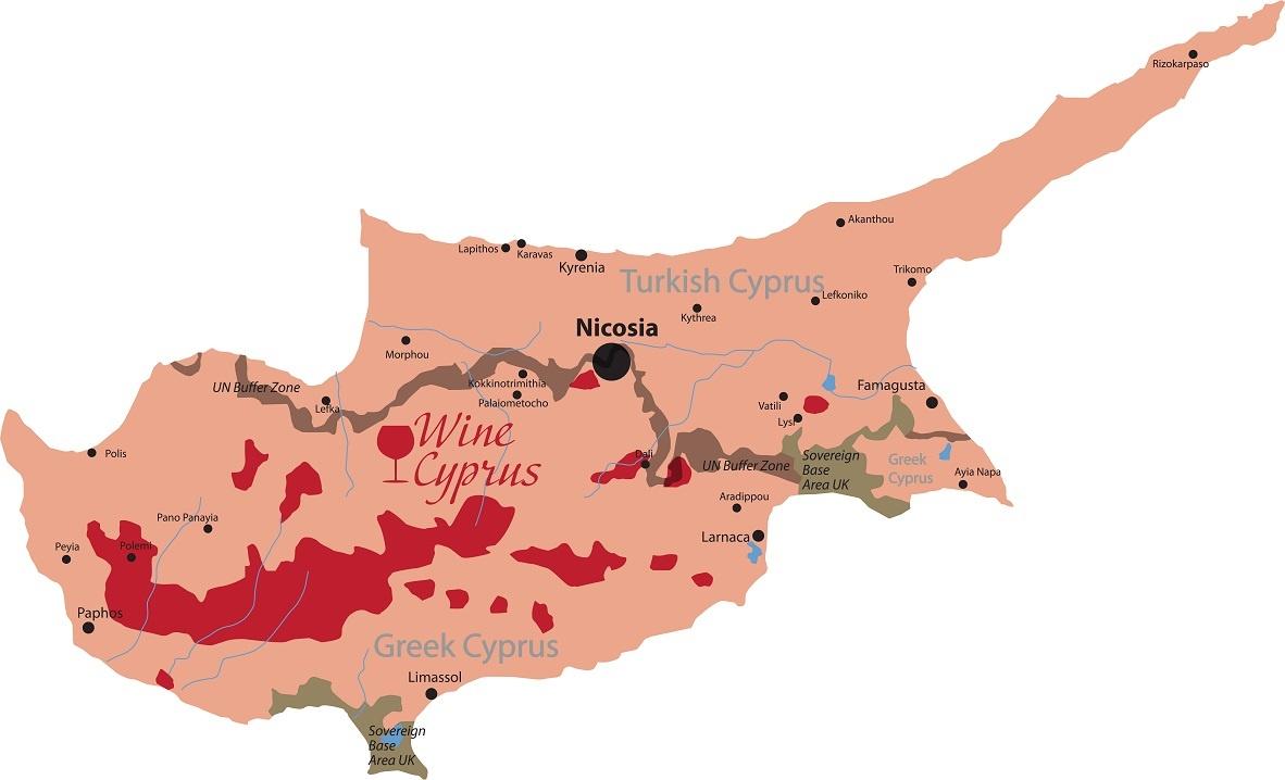 карта производства вин на Кипре