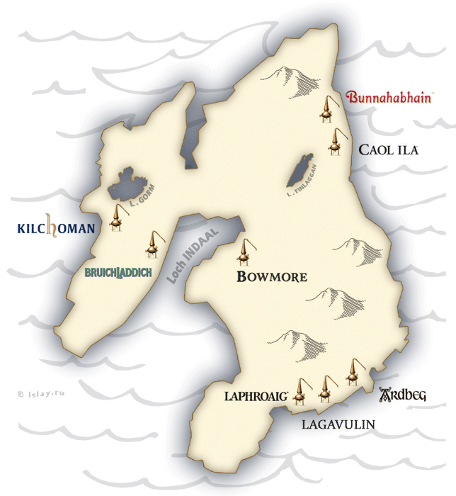 карта винокурен острова Айла