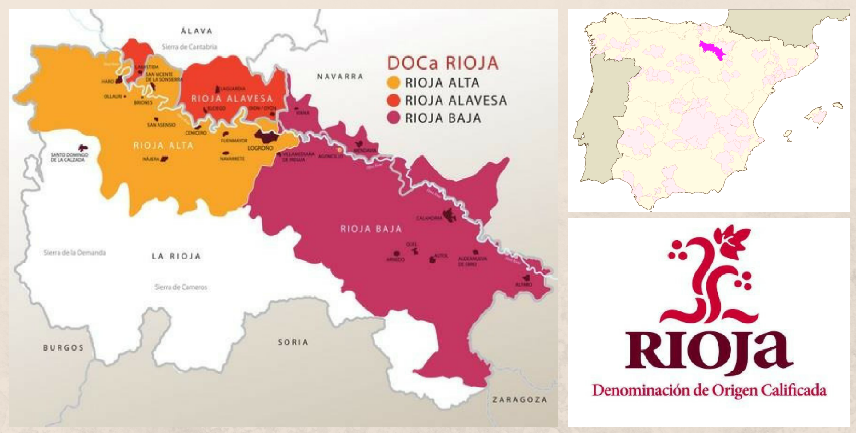 карта винодельлческого региона Риоха Испания
