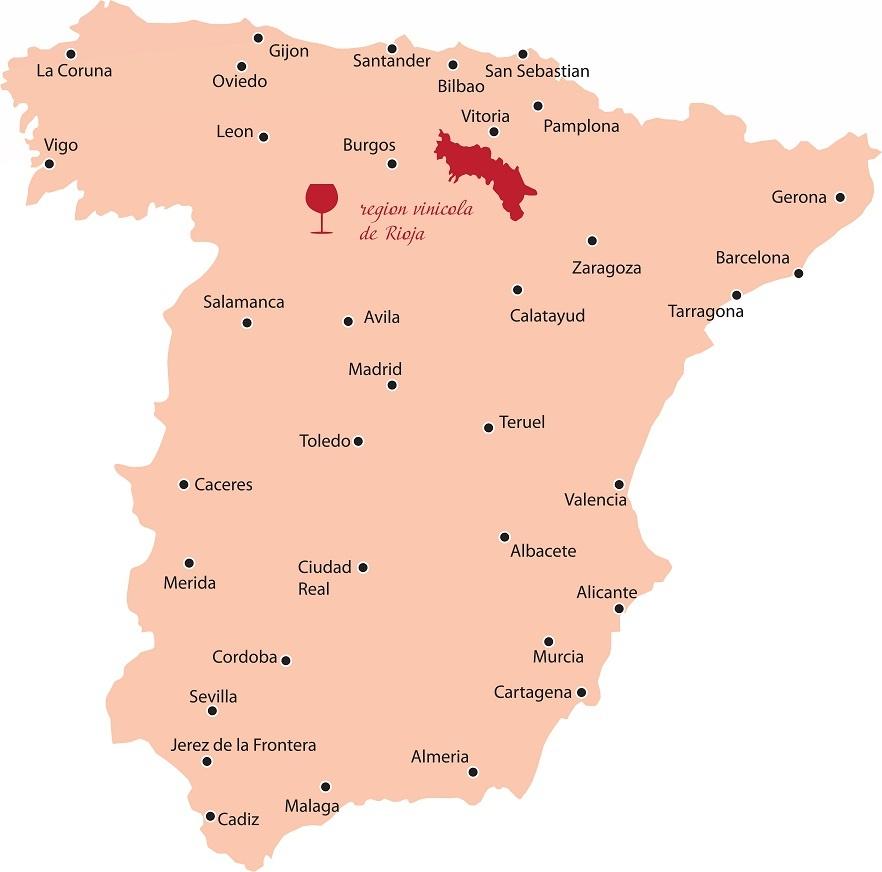 винодельческий регион Риоха на карте Испании