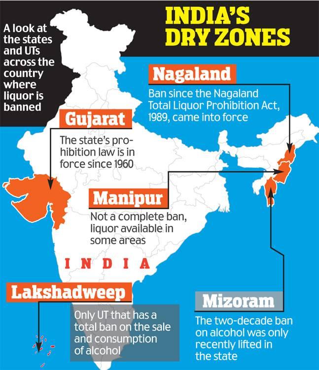 где в Индии нельзя пить алкоголь
