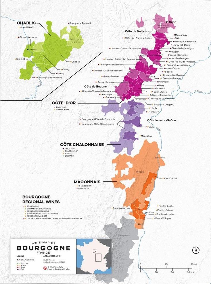 винодельческая карта Бургундии