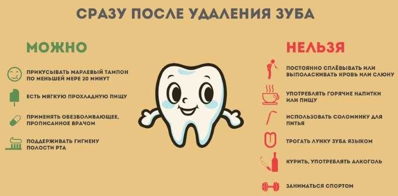 чего нельзя и что можно делать после удаления зуба