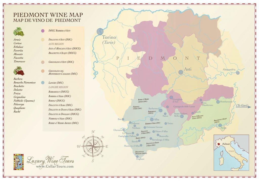 фото винной карты региона Пьемонт