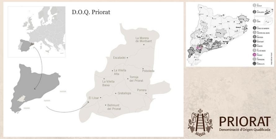 карта винодельческого региона Приорат