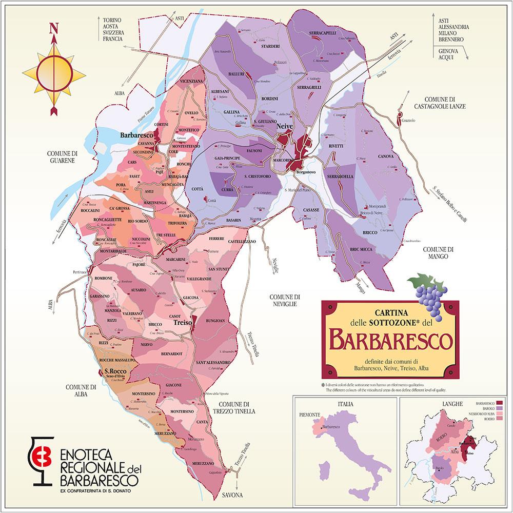 карта производства итальянских вин Барбареско