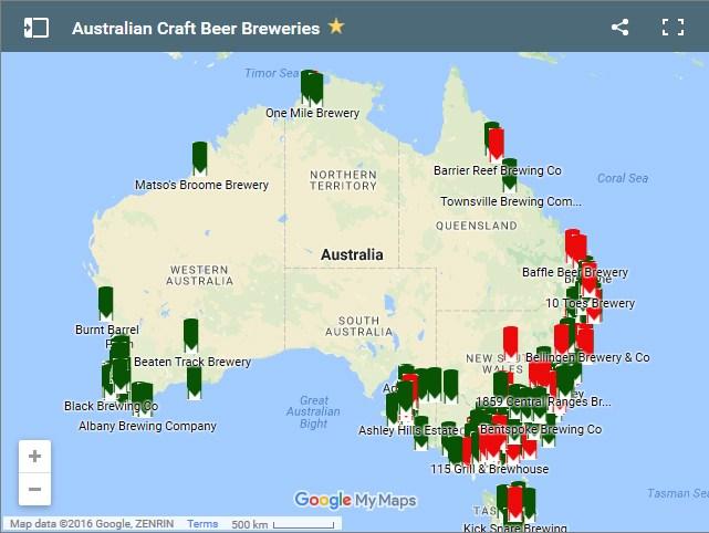 карта крафтового пива Австралии