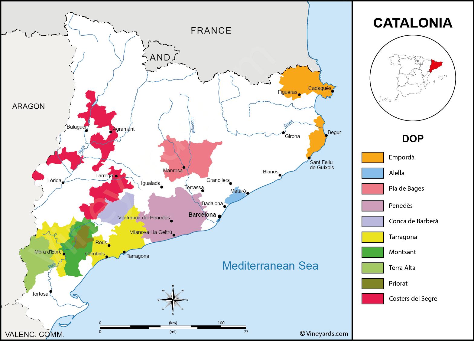 карта винодельческих регионов Каталонии