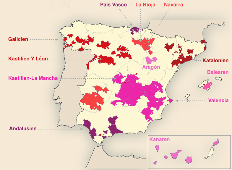 карта производства вина Айрен