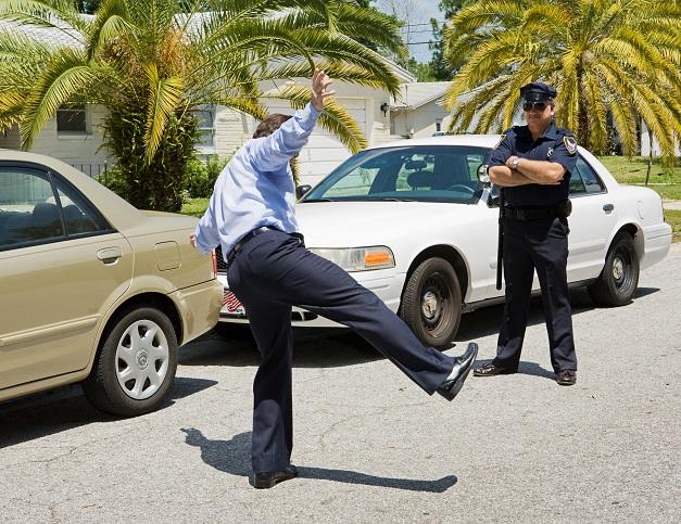 проверка водителя на опьянение полицией