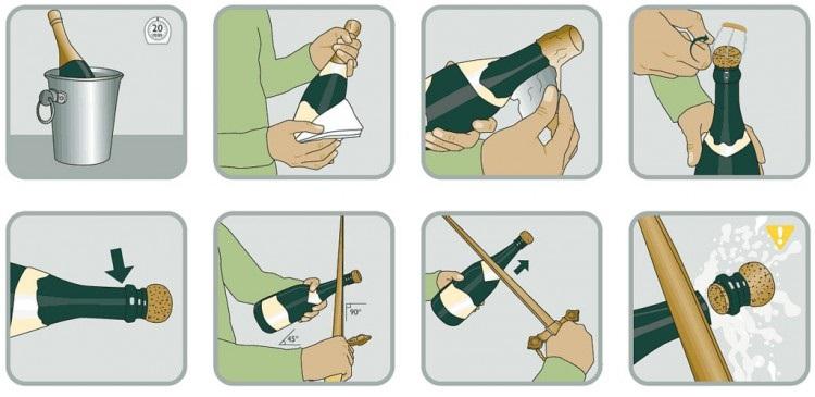фото как открыть шампанское саблей