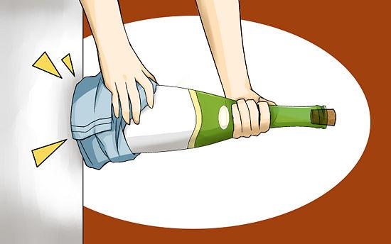 как извлечь пробку шампанского стуком
