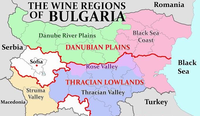 карта винодельчеких регионов Болгарии