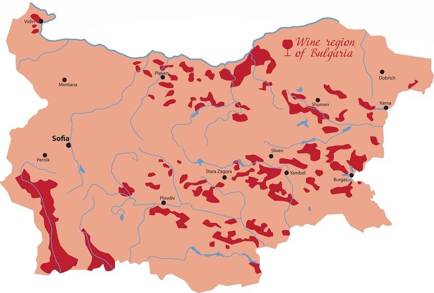 карта винодельческих регионов Болгарии