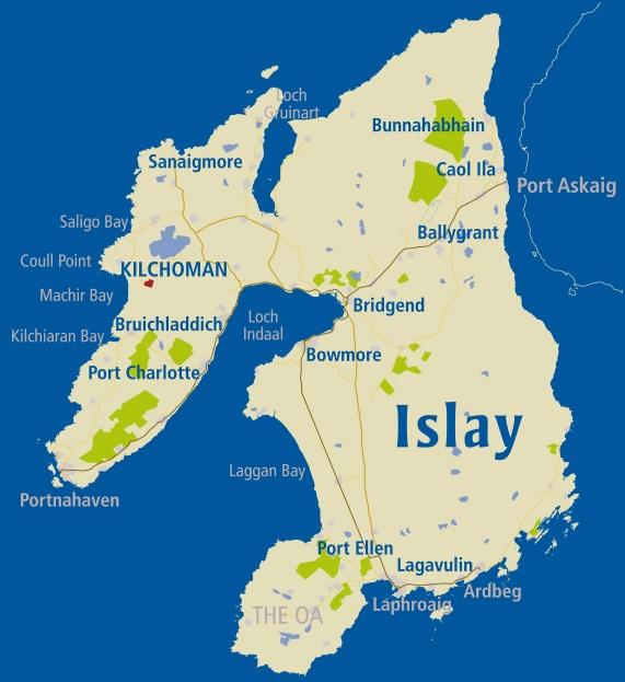 карта производства виски на острове Айла