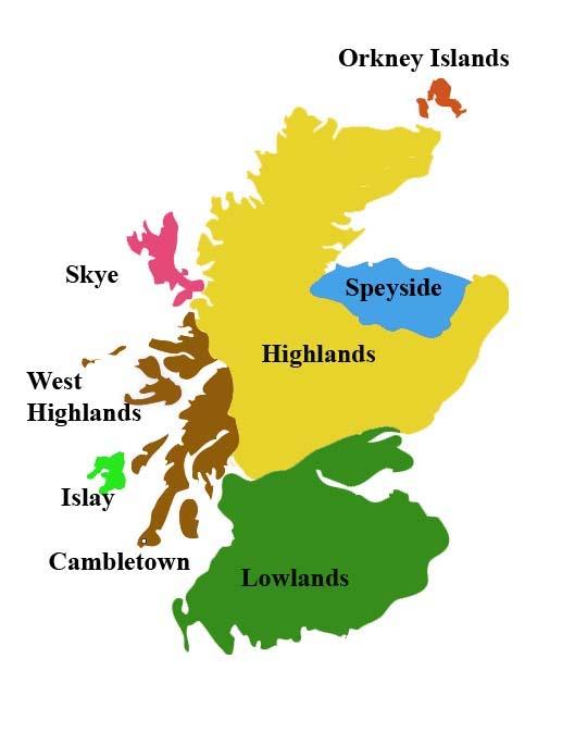 фото региона Хайленд на карте производства виски в Шотландии