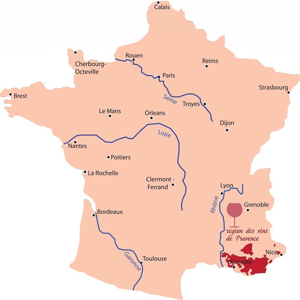 винодельческий регион Прованс на карте Франции