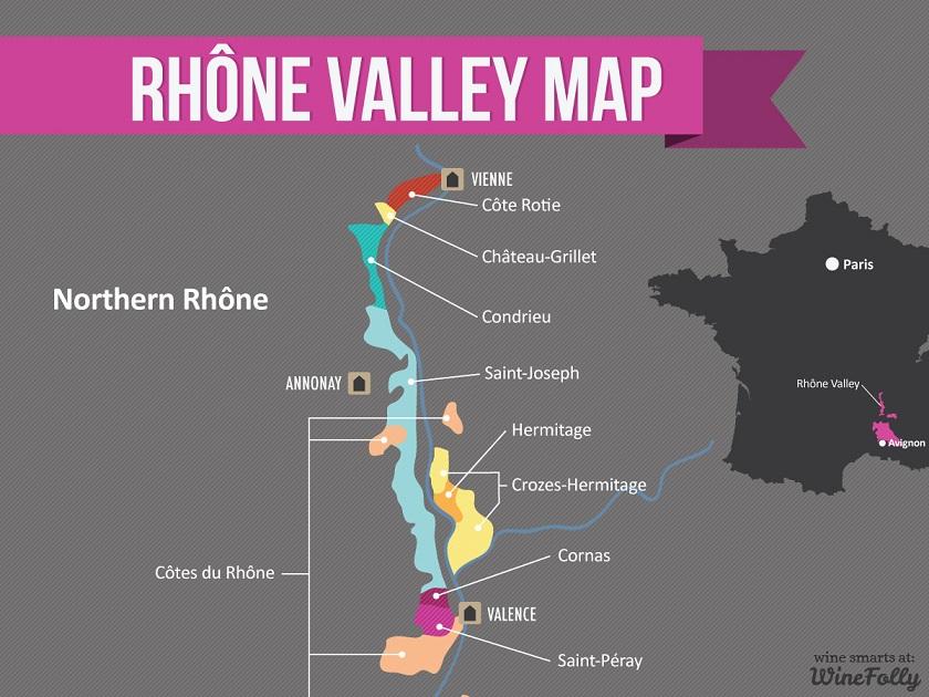 винодельческая карта долины Роны