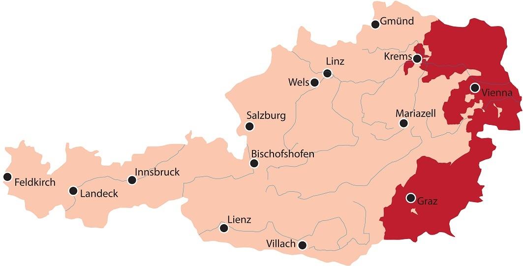карта винодельческих регионов Австрии