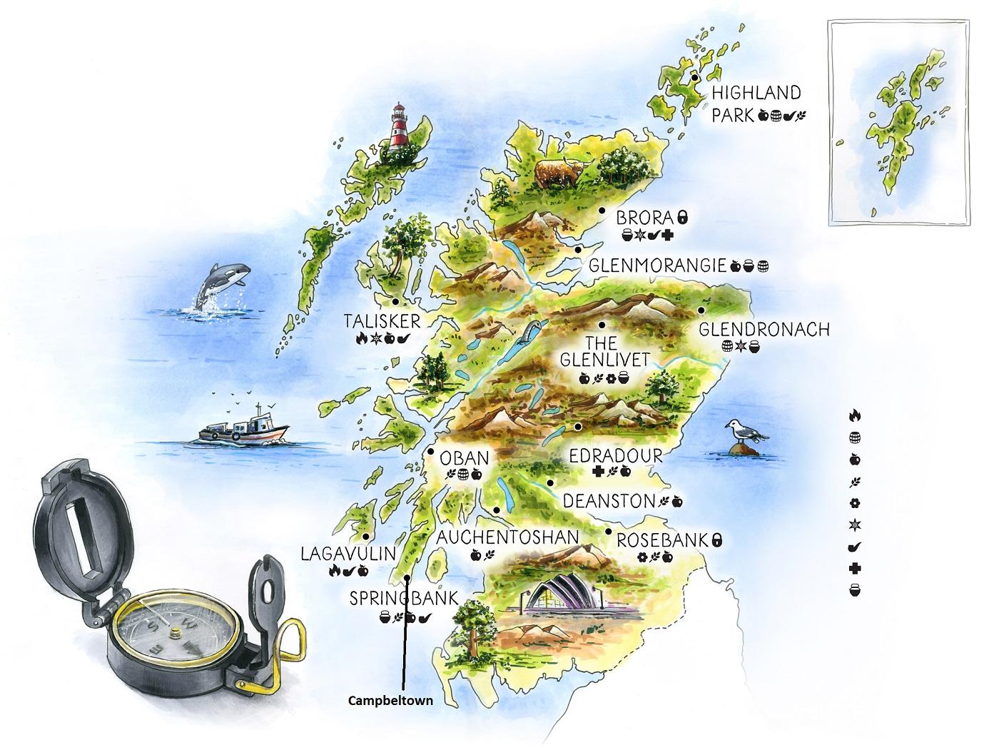 Кэмпбелтаун на карте Шотландии