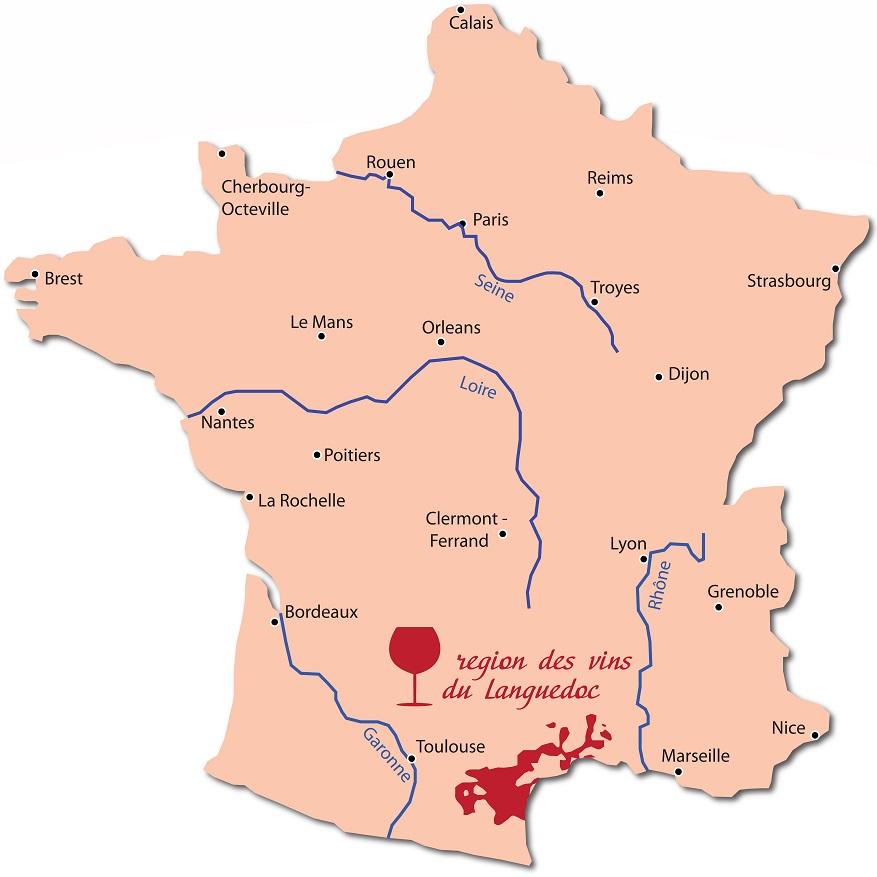 карта производства вин в Лангедоке
