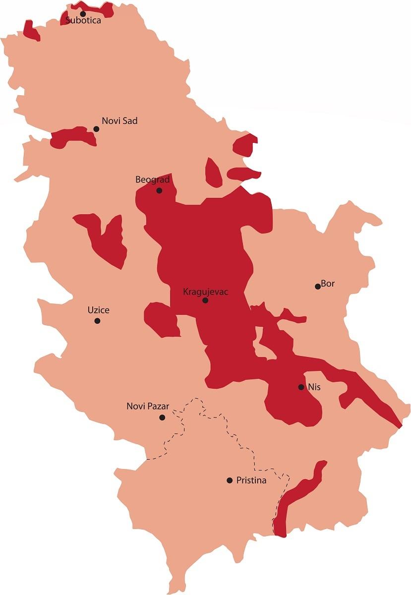 карта виноделия в Сербии