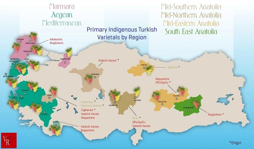 карта турецкого виноделия