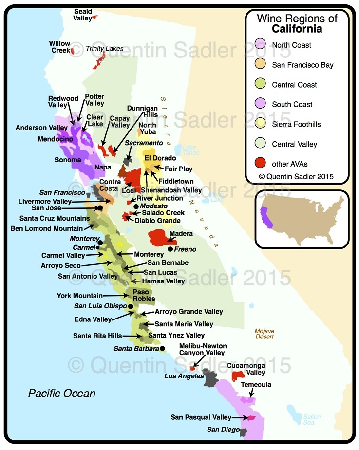 карта виноделия в Калифорнии
