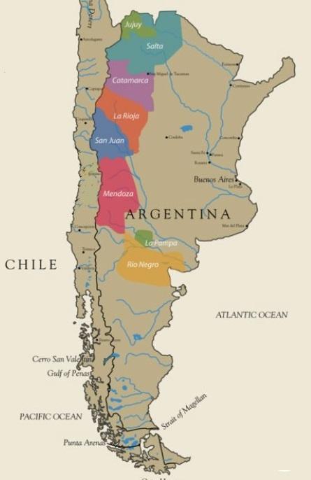 карта винодельческих регионов Аргентины фото